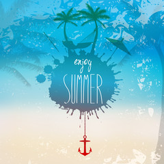 Vector grunge summer beach illustration with hammock and palm tr