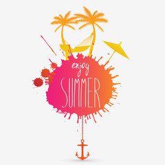 Vector summer illustration with hammock and palm trees