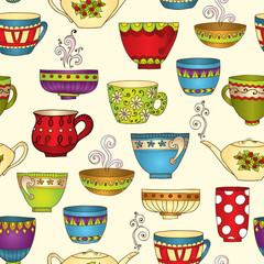 Seamless tea pattern with doodle teapots and cups.