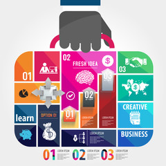 infographic Template with businessman hand hold business bag