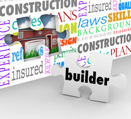 Builder Puzzle Piece Wall New Home Building Construction Words