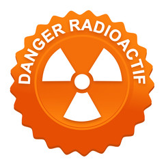 danger radioactif sur bouton web denté orange
