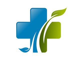 logo cross medical leaf natural