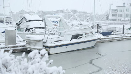 Steveston Marina, Winter Snow