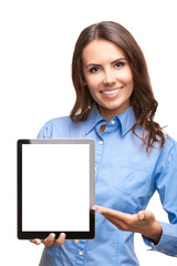 Businesswoman showing blank tablet pc, on white