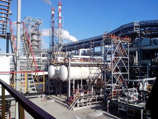 view on the installation for processing oil