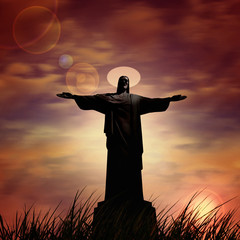 Jesus in a grass and sunset sky background