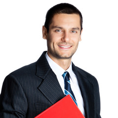 Businessman with red folder, on white