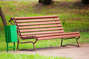 Old brown bench in park