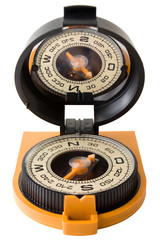Plastic tourist compass with mirror