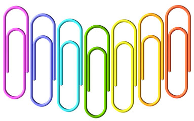 Colored paperclips wave set