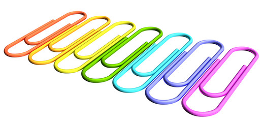 Colored paperclips diagonal perspective row