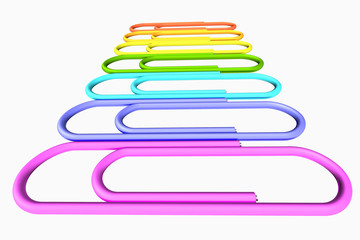 Colored paperclips row close-up perspective view
