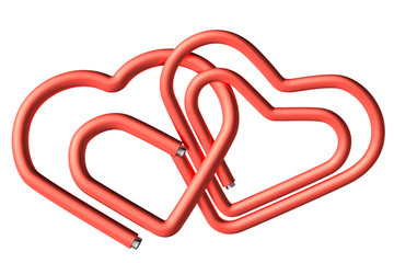 Red paperclips heart couple