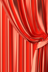Red silk theater curtain fragment