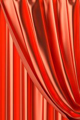 Red theater curtain fragment close-up view