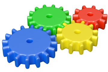 Colorful plastic toys cogwheels construction