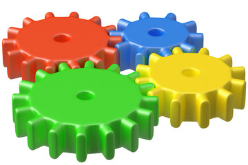 Bright plastic toys cogwheels construction