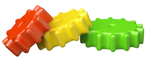 Colorful plastic toy cogwheel construction