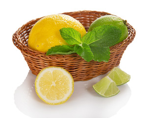 Citrus and mint in the wicker basket