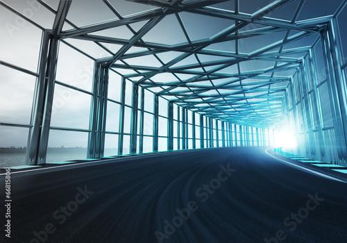 Leinwanddruck Bild gate steel framed bended racetrack