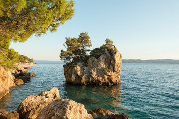 Famous little island near Brela coast, Dalmatia, Croatia