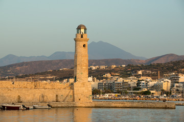 Historic lighthouse at old Rethymnon harbor, Crete