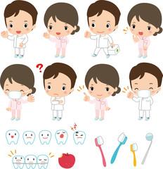 歯医者さんのいろいろな表情とポーズ