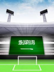 Saudi Arabia flag banner in modern football stadium background