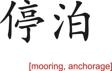 Chinese Sign for mooring, anchorage