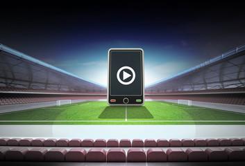 smart phone in midfield of magic football stadium
