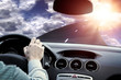 highway driving toward the sun