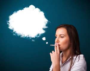 Young woman smoking unhealthy cigarette with dense smoke