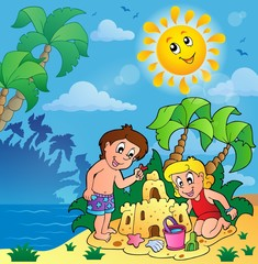 Summer theme with children playing