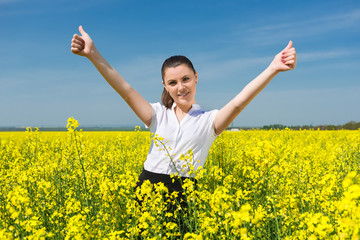 girl in suit at the yellow flower field show best gesture