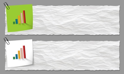 set of two banners with crumpled paper and graph