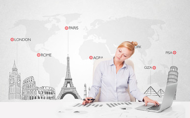 Beautiful businesswoman with world map and major landmarks of th