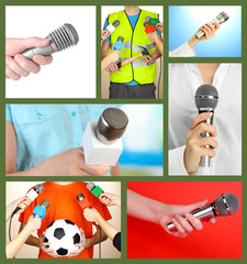 Collage of hands with microphone