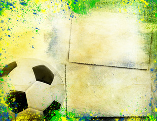 Football and the brazil flag's colours