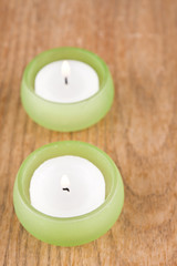 candles on wooden background