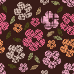 Seamless abstract flower retro style  in vector