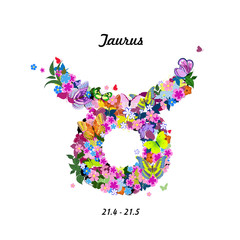 Pattern with butterflies, cute zodiac sign - taurus
