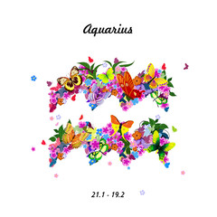 Pattern with butterflies, cute zodiac sign - aquarius