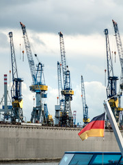 Cranes in port of Hamburg