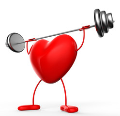 Fitness Weights Means Valentine Day And Athletic
