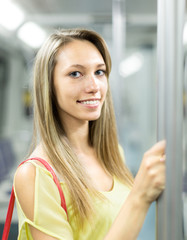 woman in a subway car