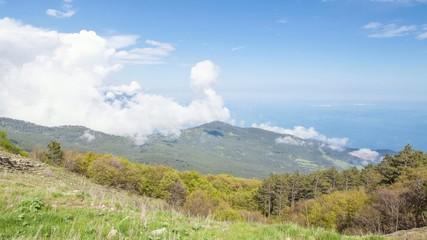 Timelapse cloudscape in the mountains Ai-Petri, Crimea