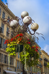 Nice, France. Architectural details. Ancient streetlight