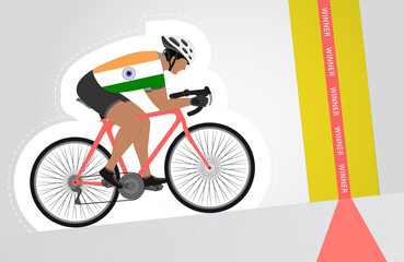 Indian cyclist riding upwards to finish line vector isolated