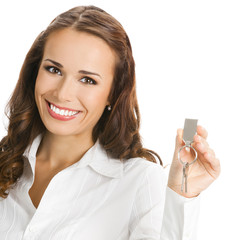 Businesswoman or real estate agent with keys